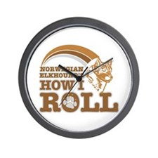 norwegian elkhound's how I roll Wall Clock