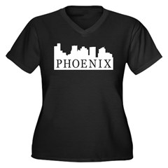 Phoenix Skyline Women's Plus Size V-Neck Dark T-Sh
