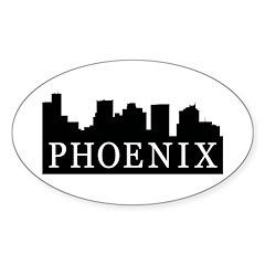 Phoenix Skyline Oval Sticker (50 pk)