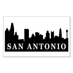 San Antonio Skyline Rectangle Sticker 50 pk)