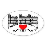 I Love Handbags Oval Sticker (50 pk)