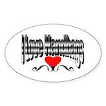 I Love Handbags Oval Sticker (10 pk)