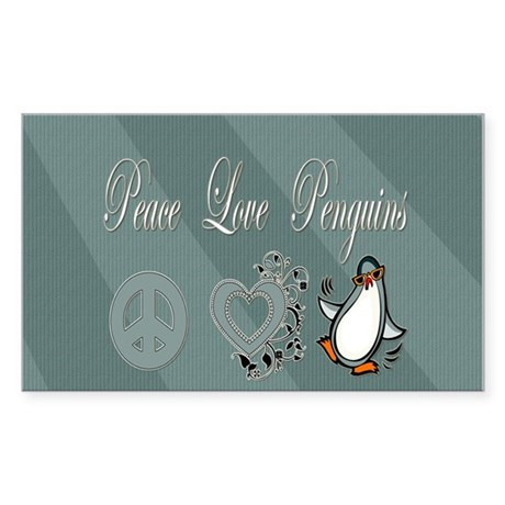 Peace Love Penguins Rectangle Sticker