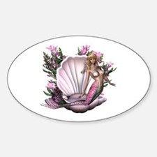 Pretty In Pink Mermaid Oval Decal