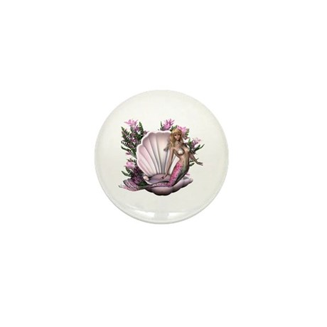 Pretty In Pink Mermaid Mini Button (100 pack)