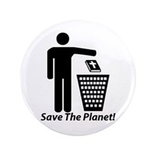 "Save The Planet 3.5"" Button"