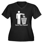 Save The Planet Women's Plus Size V-Neck Dark T-Sh