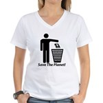 Save The Planet Women's V-Neck T-Shirt