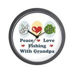 Peace Love Fishing With Grandpa Wall Clock
