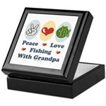 Peace Love Fishing With Grandpa Keepsake Box