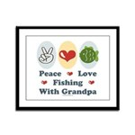 Peace Love Fishing With Grandpa Framed Panel Print