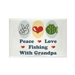 Peace Love Fishing With Grandpa Rectangle 10 Pack