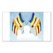 Buddha with flags Rectangle Decal