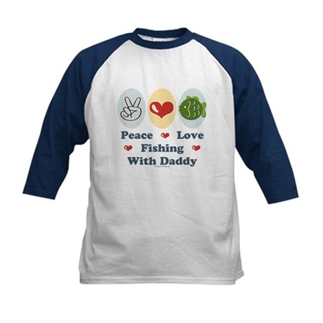 Peace Love Fishing With Daddy Kids Baseball Jersey