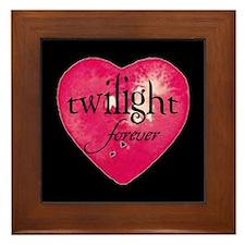 twilight forever heart /blk Framed Tile