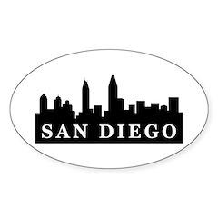 San Diego Skyline Oval Sticker (10 pk)