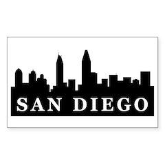 San Diego Skyline Rectangle Sticker 50 pk)