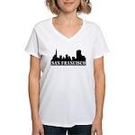 San Francisco Skyline Women's V-Neck T-Shirt