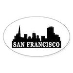 San Francisco Skyline Oval Sticker (10 pk)