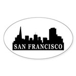 San Francisco Skyline Oval Sticker (50 pk)