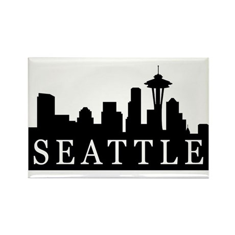 Seattle Skyline Rectangle Magnet (100 pack)