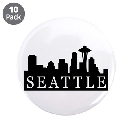 "Seattle Skyline 3.5"" Button (10 pack)"