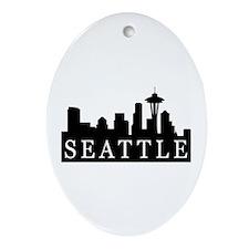 Seattle Skyline Oval Ornament