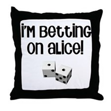 Betting on Alice Throw Pillow