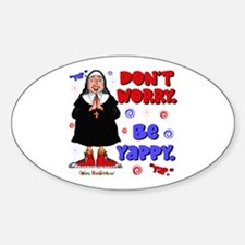 Don't Worry Be Yappy Oval Sticker (10 pk)