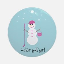 Winter Golf Girl (blue)- Ornament (Round)