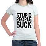 Stupid People Suck Jr. Ringer T-Shirt