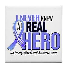 Never Knew A Hero 2 LT BLUE (Husband) Tile Coaster
