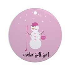 Winter Golf Girl - Ornament (Round)