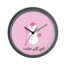 Winter Golf Girl- Wall Clock
