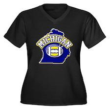 Michigan Football Women's Plus Size V-Neck Dark T-