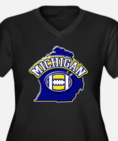 Michigan Football Women's Plus Size V-Neck Dark T-