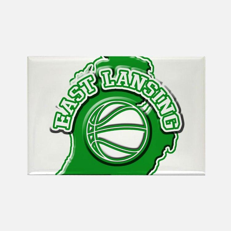 East Lansing Basketball Rectangle Magnet
