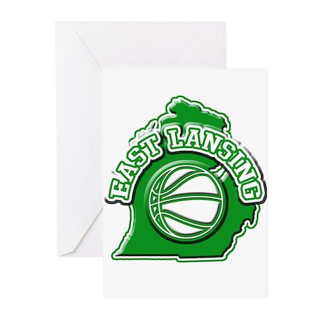 East Lansing Basketball Greeting Cards (Pk of 10)