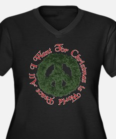 Christmas World Peace Women's Plus Size V-Neck Dar