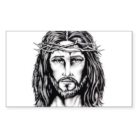 Jesus Crown of Thorns Rectangle Sticker