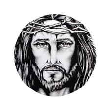 "Jesus Crown of Thorns 3.5"" Button"