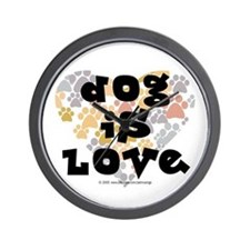Dog is love, neutral. Wall Clock