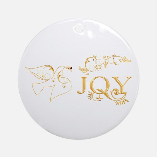 Joy (With Dove of Peace) Ornament (Round)