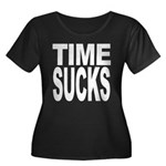 Time Sucks Women's Plus Size Scoop Neck Dark T-Shi