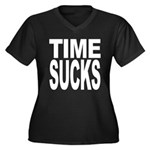 Time Sucks Women's Plus Size V-Neck Dark T-Shirt