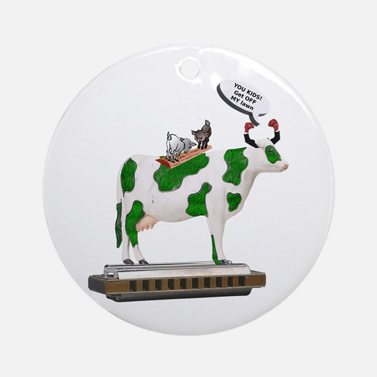 Grass Cow and Goats Ornament (Round)