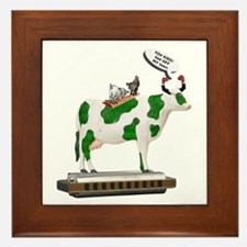 Grass Cow and Goats Framed Tile
