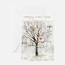 New Year And Hearts. Greeting Card