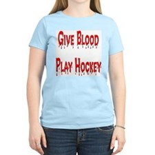 Give Blood Play Hockey Women's Pink T-Shirt