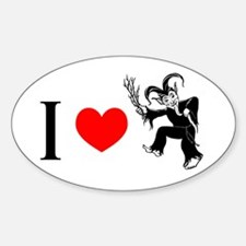 I *heart* Krampus Oval Decal